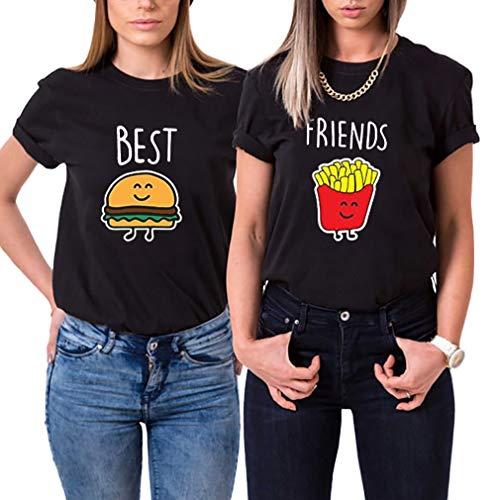 Daisy for U Best Friends T-Shirt für 2 Mädchen mit Aufdruck Burger und Pommes Lustige Passende Kurzarm Damen von 1 Stücke-Schwarz - Hamburger-S
