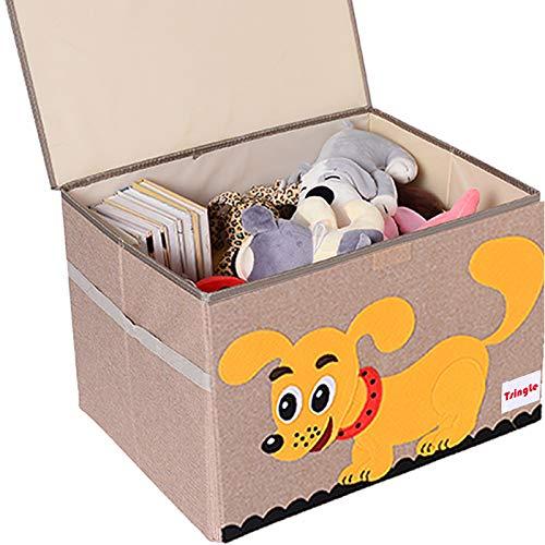 TsingLe - Cajas de almacenamiento para juguetes con tapa, tamaño grande, para guardar juguetes, libros, ropa de cama, 36 x 52 x 35 cm, 65 L (Perro-M)