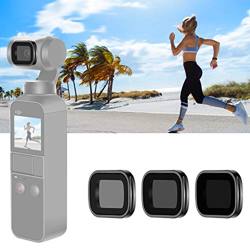 Neewer magnetisches ND-Filterset für DJI Osmo Pocket 2/1 Gimbal-Handkamera, inklusive mehrfach beschichteter ND4-ND8-ND16-Filter mit Tragebox (schwarzer Aluminiumlegierungsrahmen)