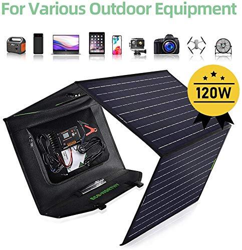 ECO-WORTHY 120W Solar Ladegerät Faltbares Solarpanel mit 20A LCD-Controller with USB für Suaoki Tragbarer Kraftwerks Generatoren Laptop 12 V AGM Akku RV Wasserdicht Solarpanel USB