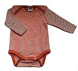 Cosilana 71053 - Body de Manga Larga para bebé, Lana y Seda Color Naranja a...