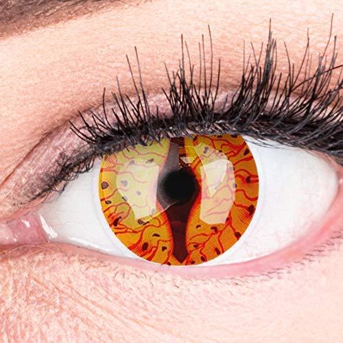 Farbige Feurige Dragon Drachen Kontaktlinsen Ohne Stärke mit Gratis Kontaktlinsenbehälter - Stark Deckend und Intensive Farben - Drogon Reptile Cosplay Lenses für Halloween Fasching