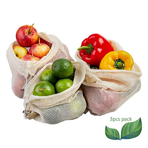 ECENCE Set de 3 Bolsas para Fruta y verdura Bolsas de Red de algodón ecológicas Reutilizables sin plástico Lavables estables 13020104