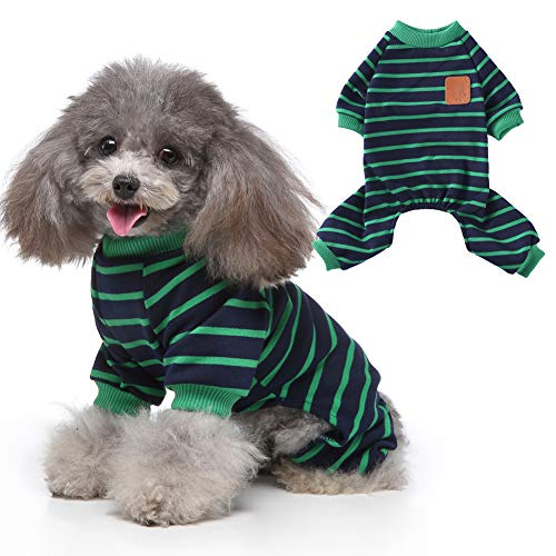 EMUST Dog Pajamas, Strip Female/Male Dog Clothes for Play Sleep,Elastic Doggie Apparel Outfits, L