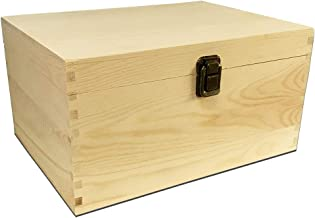 Large Unfinished Wood Box with Hinged Lid and Front Clasp for Arts, Crafts, Hobbies and Home Storage