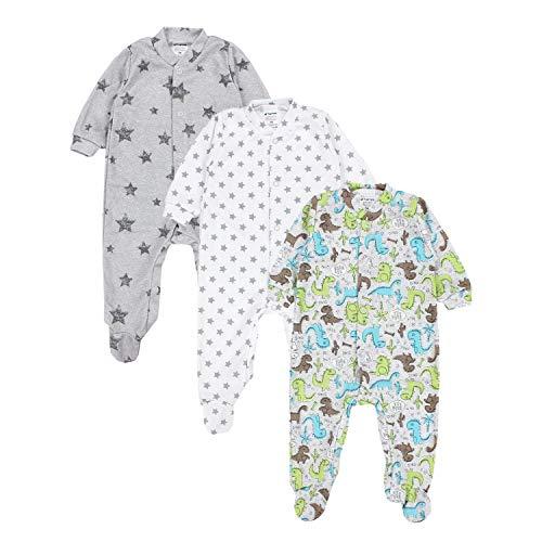 TupTam Baby Jungen Schlafstrampler mit Fuß 3er Pack, Farbe: Farbenmix 2, Größe: 86
