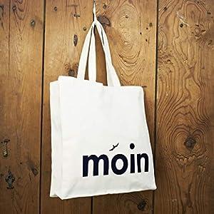 Einkaufstasche/Shopper/Schultertasche Design Moin – Baumwolle blau-weisser Druck