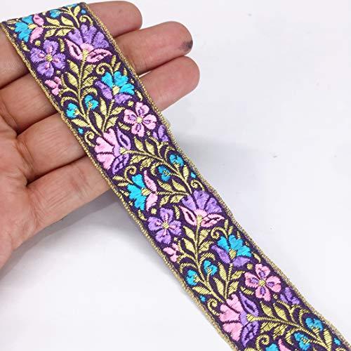 Lami - 9 Yards Purple Floral Embroidery Lace Border, Ribbon, Designer Saree Lace, Indian Trimmings, Lace for Bridal Lehenga Dupatta Suit Anarkali Border, Ribbons, Parsi Ghara Trims, Indian Trim