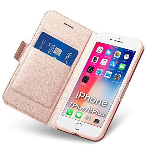 Funda iPhone 8 Plus, Funda iPhone 7 Plus Libro, Carcasa iPhone 8Plus con Cierre Magnético, Tarjetero y Suporte, Capa Phone 7Plus Plegable Cartera, Flip Cover Case, Tipo Étui Piel Protección. Oro Rosa