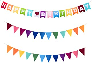 Every Cares Rainbow Felt Fabric Bunting, 35 Pcs/ 24.6 Feet(3 Pack) Decoration Banners for Birthday Party, Baby Shower, Win...