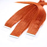 hair2heart 10 x 2.5g Tape In Echthaar Extensions, 50cm - glatt - #130 kupferrot