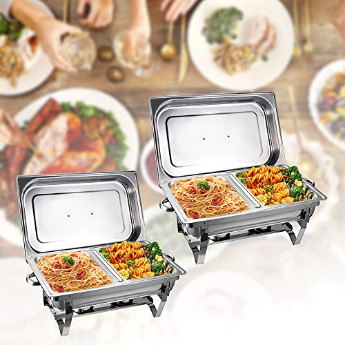 Chafing Dish, 2 8Qt Stainless Steel Chafing Dish Full Size Chafer Dish buffet Set with Water Pan, Food Pan, Fuel Holder, Lid For Catering Buffet Warmer Tray Kitchen Party Dining Christmas