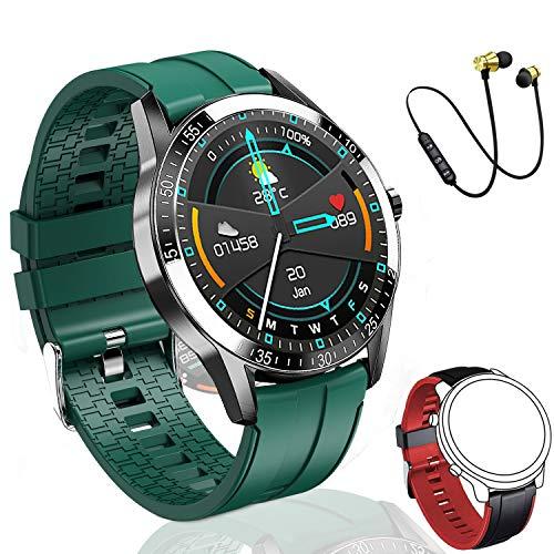 Reloj Inteligente Hombre, Smartwatch Mujer | 2021 última versión | 168 MB ROM | IP68 Impermeable con micrófono Altavoz, dial Llamada, música, Modos Deportivos y de Salud (2correas Negro y Naranja)