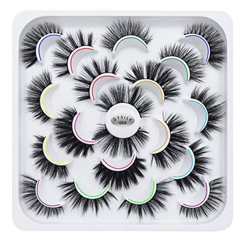 DYSILK 10 Pairs 5D Faux Mink False Eyelashes 10 Styles Mixed Long Soft Fake Eyelashes Fluffy Wispy Natural Eyelashes Handmade Reusable Eyelashes Makeup Thick Dramatic Look Lashes…