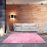 BlueSnail Super Ultra Soft Modern Shag Area Rugs, Bedroom Livingroom Sittingroom Floor Rug Carpet Blanket for Children Play Home Decorate (4' x 5.3', Rectangle, Pink)