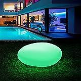 Homever RGB Luz Solar de Jardín - Lámpara Esfera con 16 Colores Ajustables, 40cm Iluminación Exterior LED de Globo, IP54 Impermeable, Carga por Solar y USB, Luz Solar para Césped, Piscina, Patio