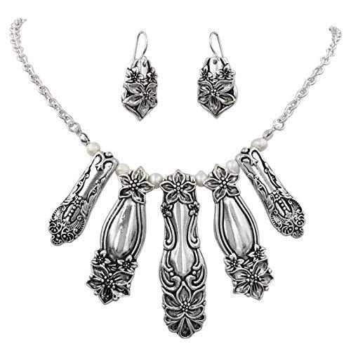 silver spoon handle earrings - 1