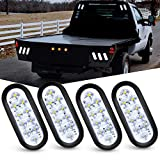 Nilight 6 Inch Oval LED Trailer Tail Lights 10 LED W/Flush Mount Grommets Plugs Stop Turn Tail Reverse Back Up Trailer Lights for RV Truck Jeep (TL-25), White