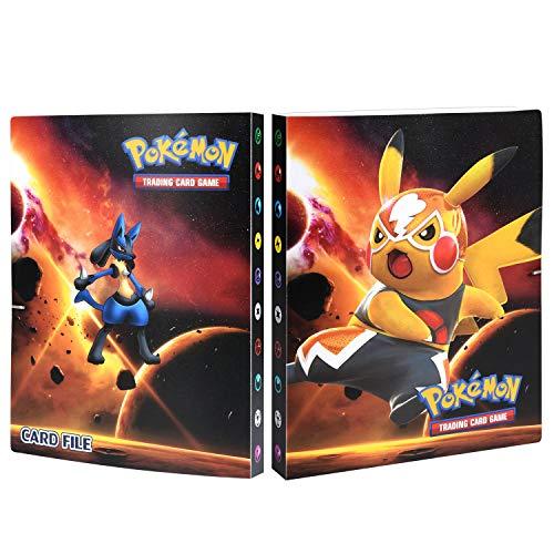 Funmo Pokémon Carte Album, Pokémon Cartes Album pour Cartes Pokemon GX EX, Albums de Cartes à Collectionner, Peut accueillir 120 Cartes à Unique ou 240 Cartes à Double(Jaune Pikachu)