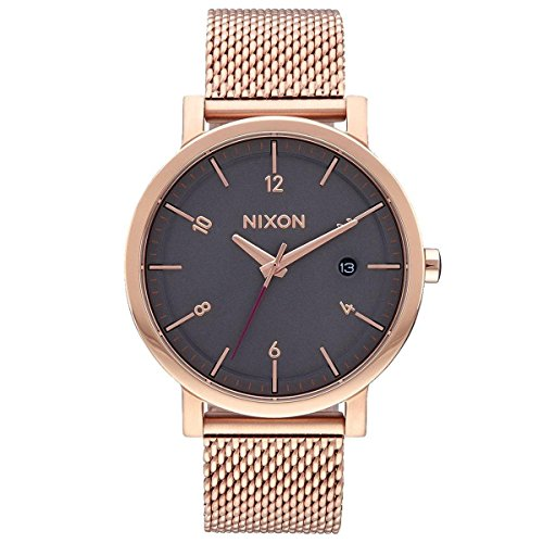 Men's Nixon Rollo Grey Dial Rose Gold-Tone Watch A10872449