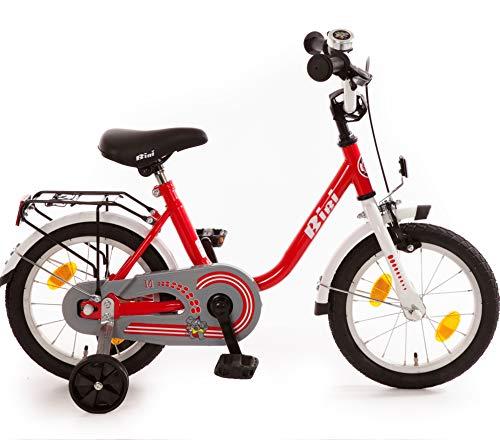 Bibi Kinderfahrrad 14 Zoll mit Rücktrittbremse und Stützrädern Fahrrad für Kinder Junge Mädchen Kinderrad rot Weiss