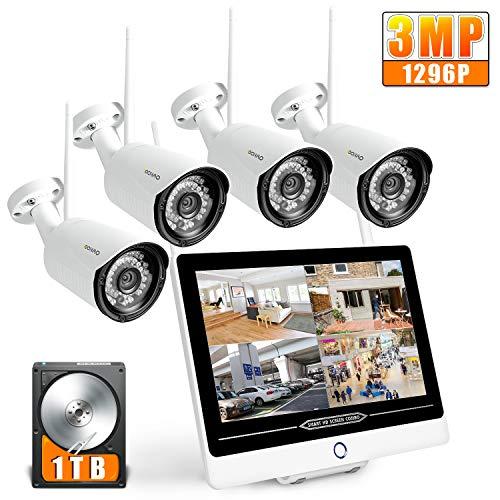 SOOHAO bewakingscamera, wlan, bewakingscamera met monitor 12 inch monitor NVR 4psc 1080p bewakingscamera set draadloos 1 TB bewakingscamera buiten WLAN bewakingscamera bewakingscamera draadloos 1tb 4pcs