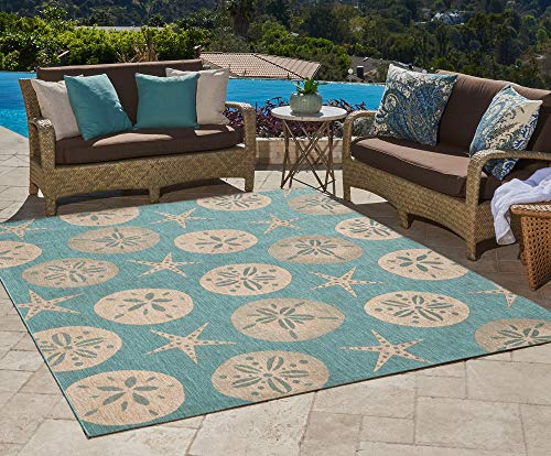 Gertmenian 21268 Nautical Tropical Outdoor Patio Rugs, 5x7 Standard, Sand Dollar Starfish Oasis Green