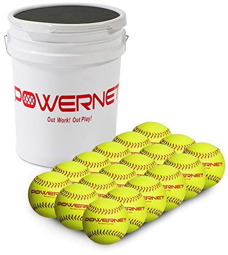 PowerNet Recreation Grade Softballs Bundle   18 Pack   Perfect for Softball Soft Toss, Batting, Fielding, Hitting, Pitching Drills or Practice (Bucket & Balls)