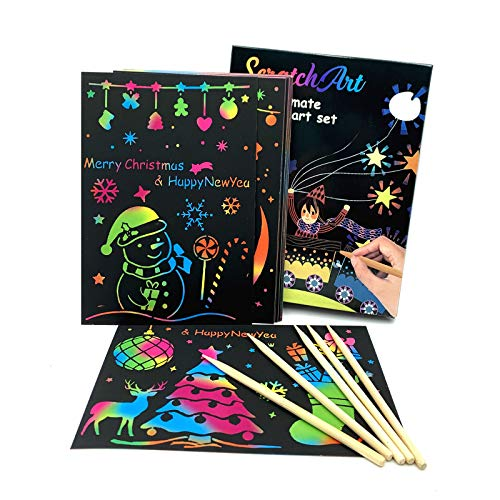 lifetop Scratch Art for Kids, 50 Sheets Rainbow Magic Scratch Paper Crafts Drawing Supplies with 4...
