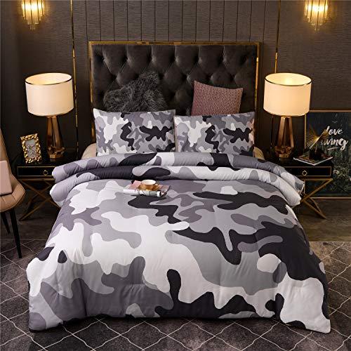 Holawakaka Camouflage-Bettwäsche-Set für Kinder, Teenager, Jungen, Camouflage, King-Size-Tagesdecke (grau, King-Size)