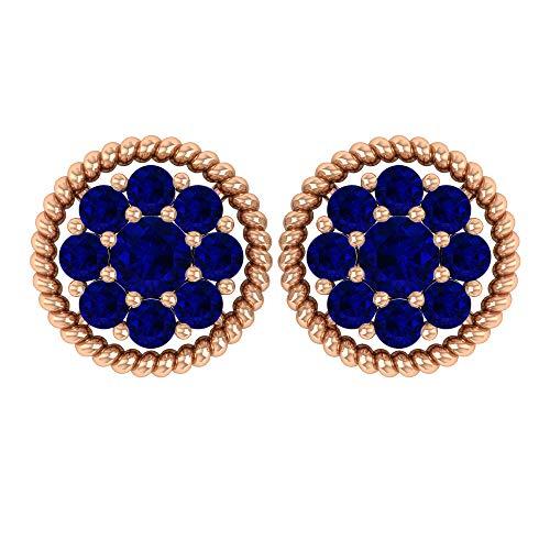 Pendientes de zafiro difuso de 1/4 ct con racimo de flores, aretes de oro con zafiro, aretes de rosca azul