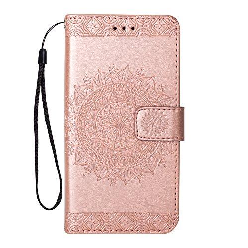 MAOOY Leder Hülle für Huawei P8 Lite(2017), Huawei GR3(2017) Geprägtes Blume Muster Design Handyhülle mit Handschlaufe, Retro Brieftasche Handytasche für Huawei P8 Lite(2017), Roségold