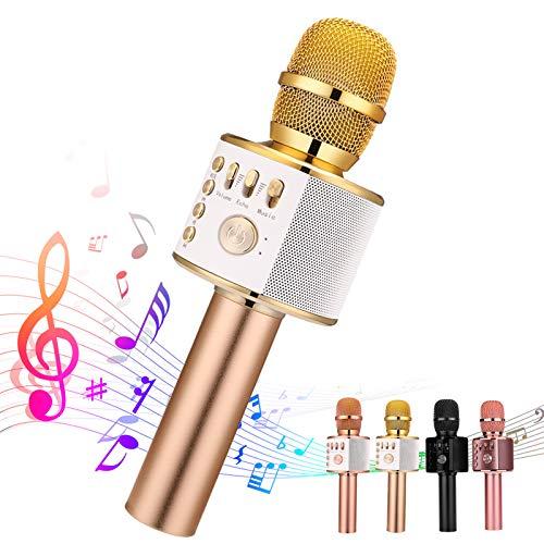 Ankuka Karaoke Wireless Microphone Bluetooth, 3 in 1 Multi-Function Handheld Karaoke Machine for Kids, Portable Mic Speaker Home, Party Singing(Light Gold)