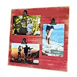 Modicum | Shiplap Photo Display Board - Picture Frame with Clips for 3 Photos (Three 4x6 or Two 4x6 with One 5x7), Easy Quick Change Photo Collage, Hang on Wall or Stand on Tabletop (Rustic Barn Red)