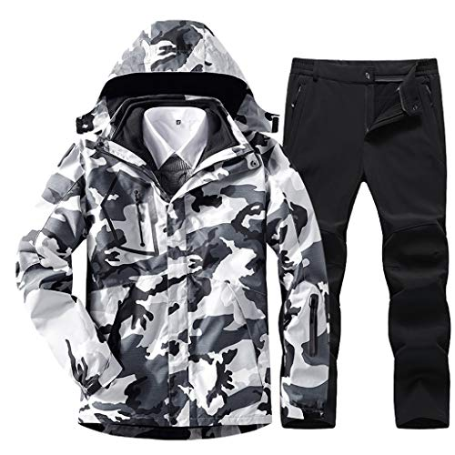 xiaokeai Skijacke Camouflage Herren-Anzug Outdoorjacke im Herbst und Winter Abnehmbare Plus-Fleece-Jacke Berg Skianzug Ski-Bekleidung (Size : Large)