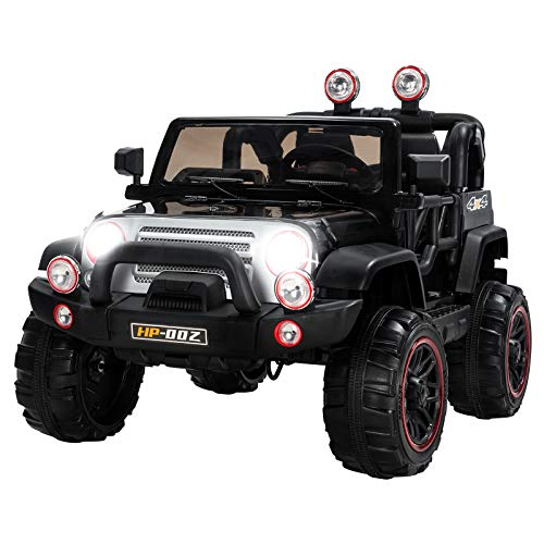 Uenjoy Kids Ride on Cars 12V Children's Electric Cars Motorized Cars for Kids with Remote Control, 3 Speeds, Head Lights, Dual Motors, Black