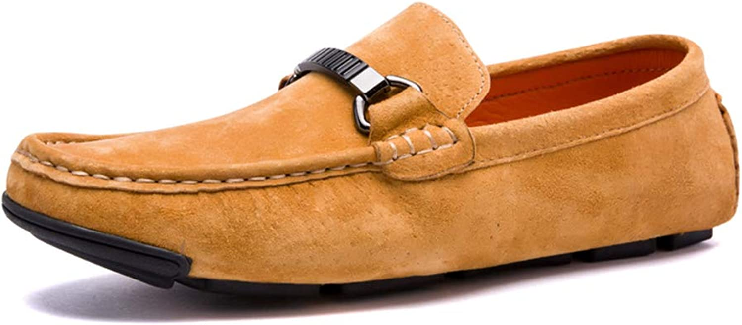 Men's shoes Spring Fall Suede Casual shoes Loafers & Slip-Ons Business Flat shoes Single shoes Driving shoes Lazy shoes (color   C, Size   39)