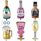 Ceqiny Juego de 6 globos aluminio para botella de champán y copa vino botellas whisky globos Mylar globos de animación cerveza decoración para fiestas de Mardi Gras accesorios para cabina de fotos