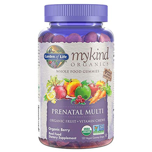 Garden of Life Organics Prenatal Gummy Vitamins, Non-GMO, Vegan, Multi-Colored, Berry, 120 Count (Pack of 1)