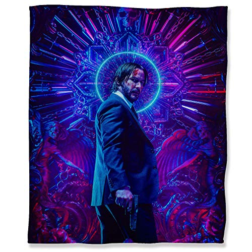John Wick Chapter 3 Parabellum Throw Blanket Decorative Ultra-Plush 130 x 180 cm, Movie The Legend Hitman Keanu Reeves Fuzzy Flannel Blanket Throw for Kid Baby Adults or Pet