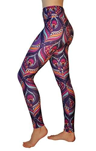 Comfy Yoga Pants - High Waisted Yoga Leggings with Bohemian Print - Extra Soft - Dry Fit (Peacock, One Size)