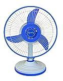 Lovely Solar Fan DC 12Volt - 24Watt 12' SanChi Table Fan (Double Speed, Sky Blue & White)