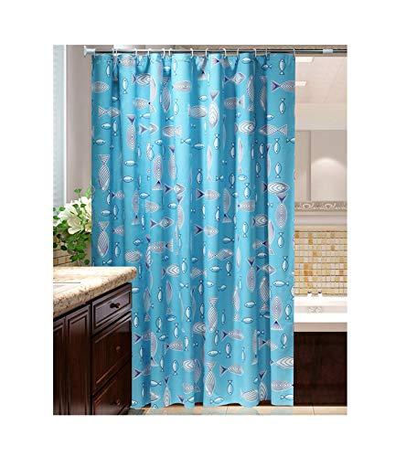 MaxAst Blau Fisch Duschvorhang Anti Schimmel, Peva Badewanne Vorhang 120x200CM, Antibakteriell Wasserdicht mit Ringe