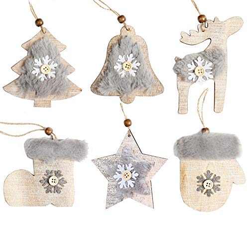 White Christmas Ornaments Rustic Wood Christmas Tree Ornaments Hangings Home Arch Tableware Decoration Indoor Outdoor Christmas Ornament Tree Hangs (Wood and Fur 8 pcs Ornaments)