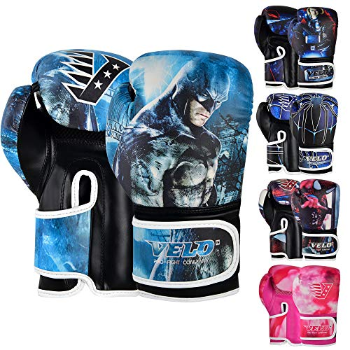 VELO - Guantes de boxeo para entrenamiento junior de cuero para niños Muay Thai, 4 oz, 6 oz, guantes de kickboxing, almohadillas de enfoque y agarre de boxeo para jóvenes