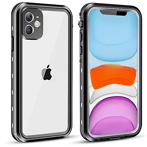 "vcloo Waterproof Case for iPhone 11, Fully Sealed Snowproof Shockproof Dustproof Dirtproof Underwater Cover Rugged Heavy Duty Clear IP68 6.1"""