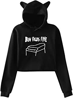 Women's Casual Exposed Umbilical Hoodies,Ben Folds Five Piano Logo Girls Long Sleeves Cat Ear Hoodie Sweater