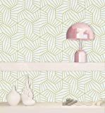 """HeloHo 197""""x17.7""""Geometric Peel and Stick Wallpaper Gold Contact Paper Stripes Wallpaper Self Adhesive Contact Paper Removable Wallpaper Vinyl Roll Bedroom Living Room Shelf Drawer Liner Decorative"""