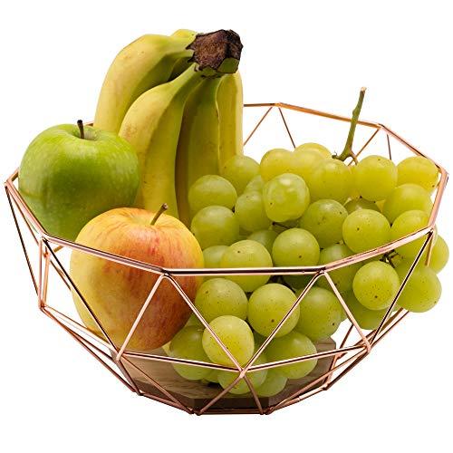 Chefarone Obstschale Metall - dekorativer Obstkorb Vintage - Obst Aufbewahrung für mehr Vitamine in Ihrem Alltag - Skandinavische Deko Korb (26x26x12cm)