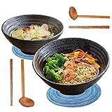 YTLEMON 2 Set (8 Pezzi) Ciotola Ramen, Ciotola di Minestra di Ramen in Ceramica Giapponese 1000ml con Cucchiaio e Bacchette e Tovagliette, per Zuppa, Noodle, Spaghetti, Cereali e Antipasto - Nero (A)